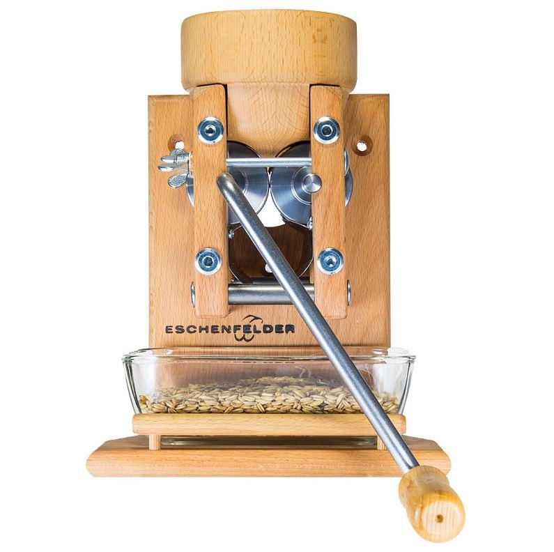 Eschenfelder Korn-Quetsche Flockenquetsche auch als Wandmodell mit Holztrichter und Glasschale erhältlich